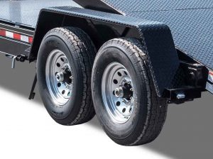 Diamond Floor Tilt Equipment Trailer 7,000 lb. 8 Lug Axles - 235:80 R16 LRE Premium West Lake Tires - HD Diamond Plate Fenders